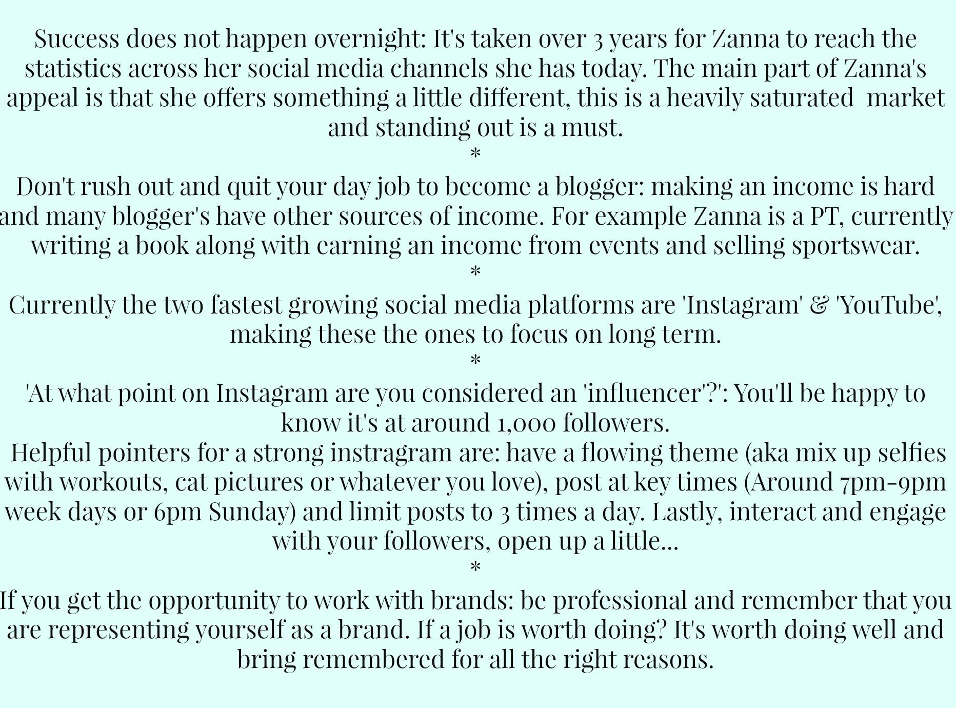 Zanna Van Dijk tips on blogging